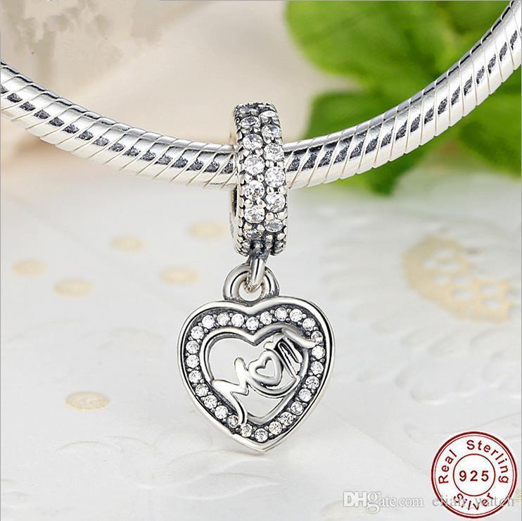 Encantos originales mamá amor cuelga pandora encantos 925 ale plata esterlina granos flojos Diy joyería para hilo collar pulsera día de la madre g