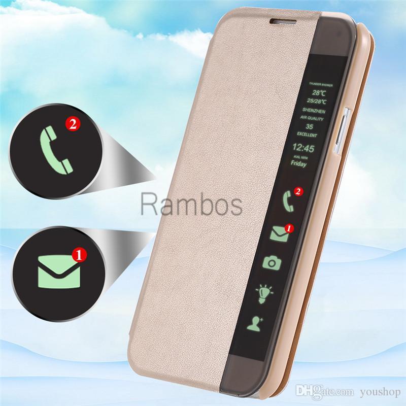 Для Huawei P8 Lite, Smart View Window передняя Фолио кожаный флип чехол Caller ID дисплей для Huawei P7 / P8 / Mate 7 / честь 6 плюс