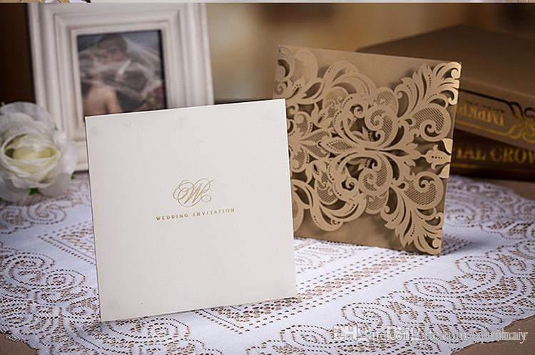 New Luxury Lace Hollow Wedding Invitation Card Gold Personalized