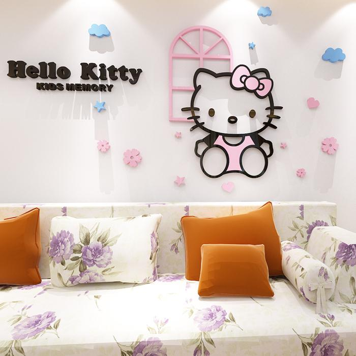 For Hello Kitty 3d Acrylic Kt Cat Crystal Three Dimensional Wall Stickers  Cartoon Child Real Bedside Applique Wall Stickers Murals Wall Stickers  Nursery ... Part 56