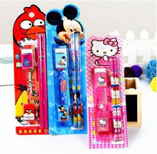 Children Birthday Party Gifts Kids Prizes Stationery Lovely School Set 2 Pencils Knife Eraser Ruler Pencil Sharpener M1968
