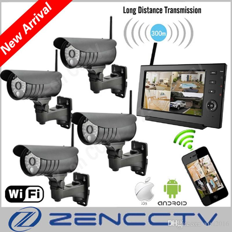 "7"" Monitor 2.4Ghz Digital Wireless CCTV Security Kit Built-in Li Battery SD Recording Surveillance DVR Camera de Seguranca Via Phone"
