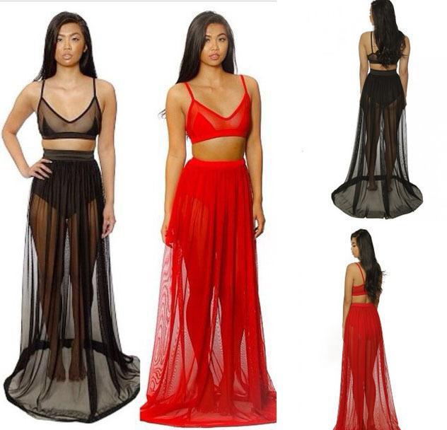 2017 See Through Women Crop Top And Maxi Long Floor Sheer Skirt ...