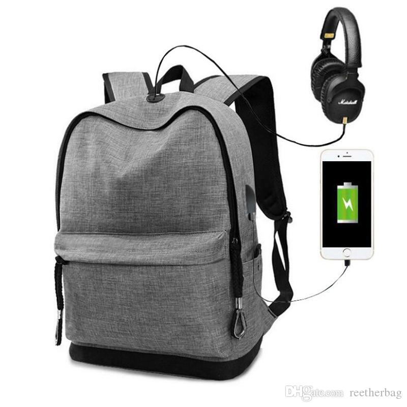 fdcf367593f4 Laptop Backpack With USB Charging Port School Student Backpack School  Rucksack Business Knapsack Travel Daypack With A Earphone Cord Hole Cool  Backpacks ...