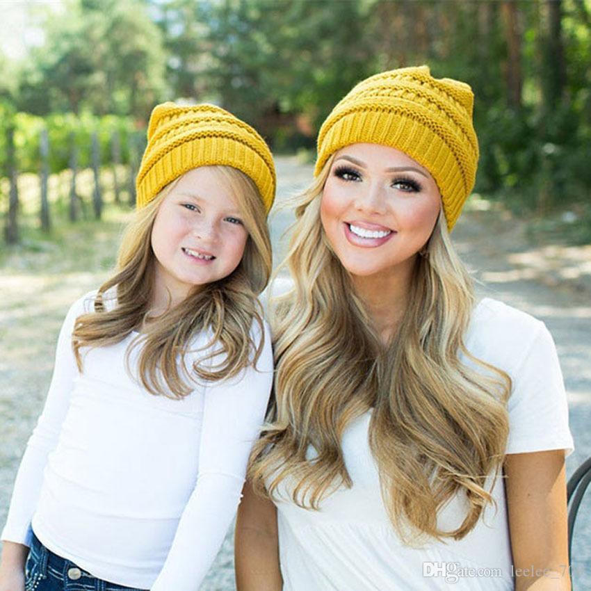 2017 baby beanie hats winter hats for women kids crochet hats wholesale children knit hat family matching set mom and daughter dad wool cap