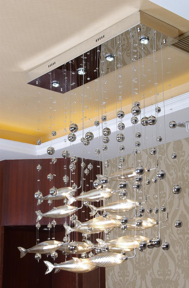 Best Quality Postmodern Modern Led Glass Flying Fish Chandeliers Dining Room Bar Pendant Lights Crystal Cognac Color Fishes Ceiling Lamps At Cheap Price