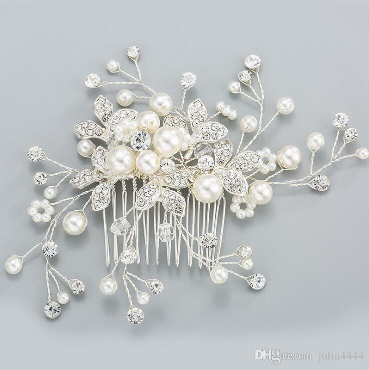 Hair Combs Imitation Pearls Flower Party Wedding Hair Accessories Rhinestone Wedding Bridal Prom Evening Party Headpiece Size 8.5*6cm