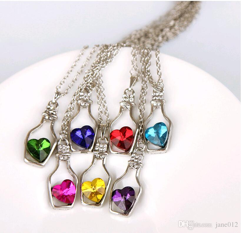 Wishing Bottle Jewelry Heart Pendant Necklaces Fashion Crystal Sparkle Stone Sautoir for girls Sale Cheap