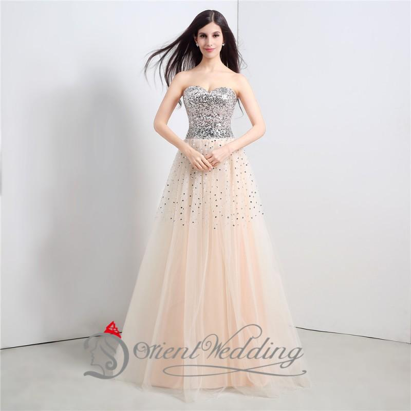 A Line Strapless Sweetheart Prom Dresses With Beads Sequins Floor ...