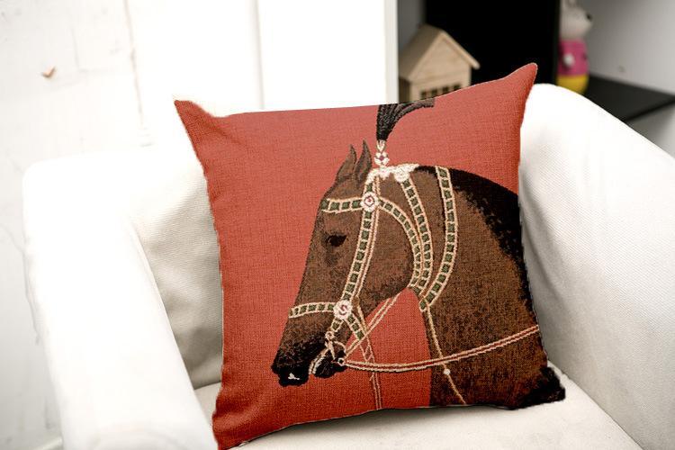 Luxury Brown White Horse Подушка Обложки животные печать площадь Бросайте Наволочку Европейского хлопок белье лошадь наволочку 45см * 45см