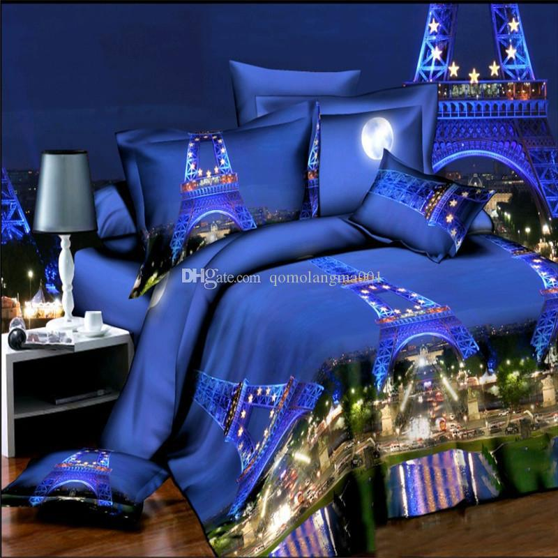 2017 new Eiffel Tower Bedding Beautiful Flowers Personality Fashion Creative 3D Bedding Sets 4Pcs-Set Modern Printed Bedding