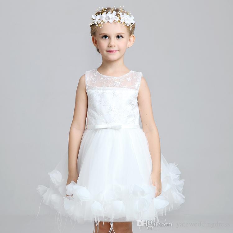 Büyüleyici Sevimli Çocuklar Çocuk Maç Veils Kafa Adet Çiçek Kız Elbiseler 2015 Beyaz Pembe Prenses Çelenk Çiçek Kız Kafa Için düğün