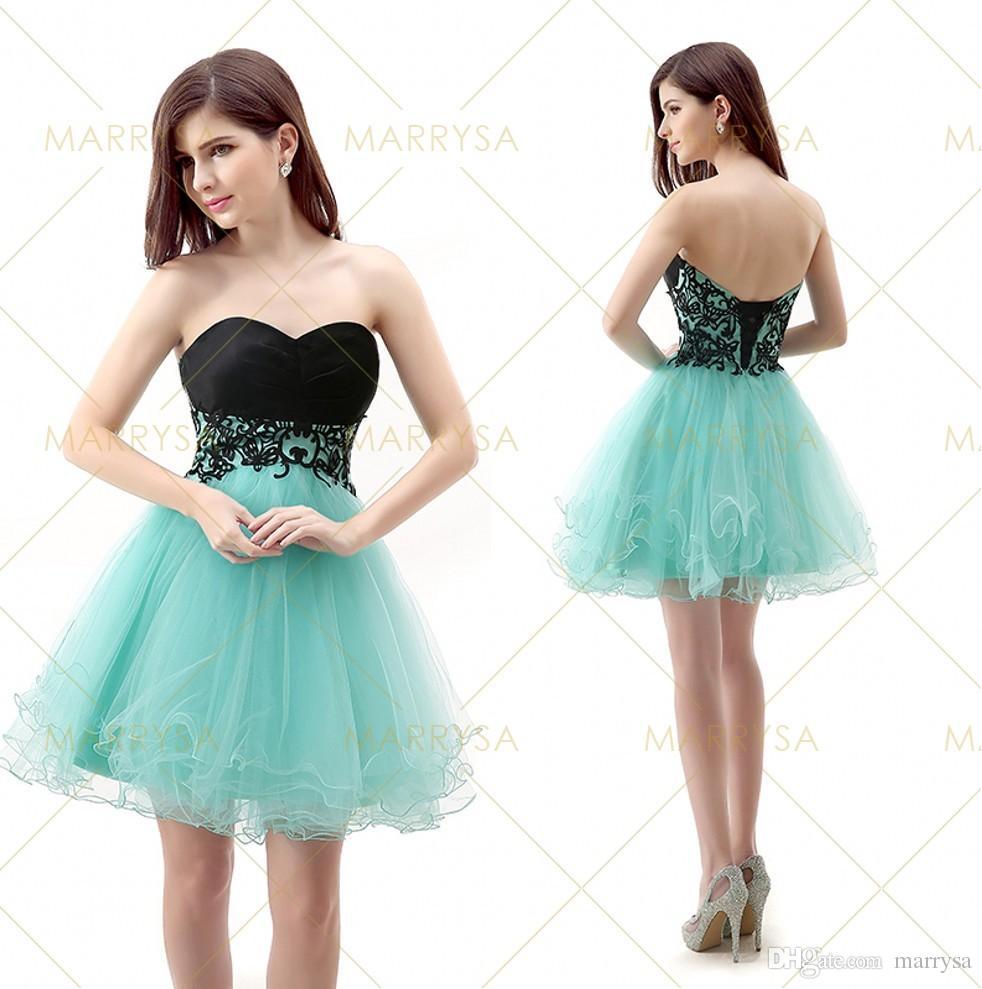 In Stock 2015 Homecoming Dresses Short Tulle Black Blue Bandage ...