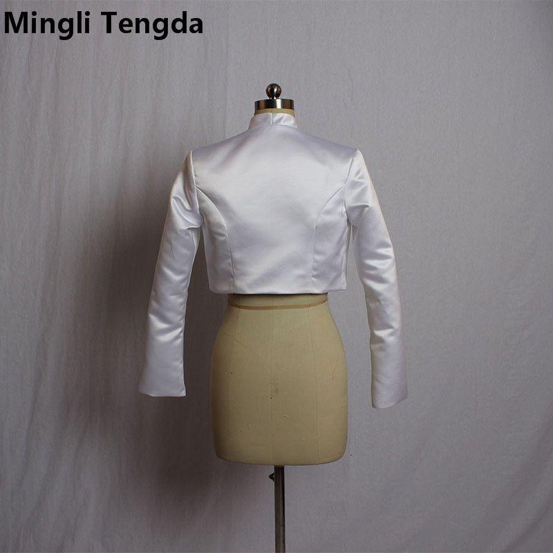 Mingli Tengda Elegant Long Sleeves High Collar Satin Wedding Bridal Bolero Bridal Wraps Shawls Women Shrug Coat Long Sleeve Jacket Wrap 2018