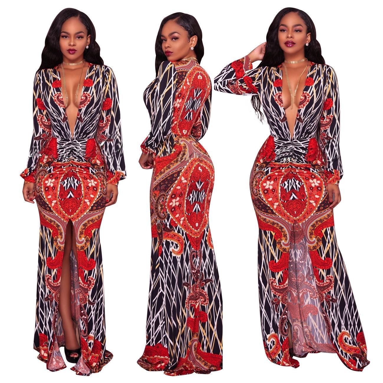 플러스 사이즈 여성 플로랄 프린트 보호 롱 맥시 드레스 새로운 딥 브이넥 풀 슬리브 하이 스플릿 드레스 나이트 파티 베스 티드