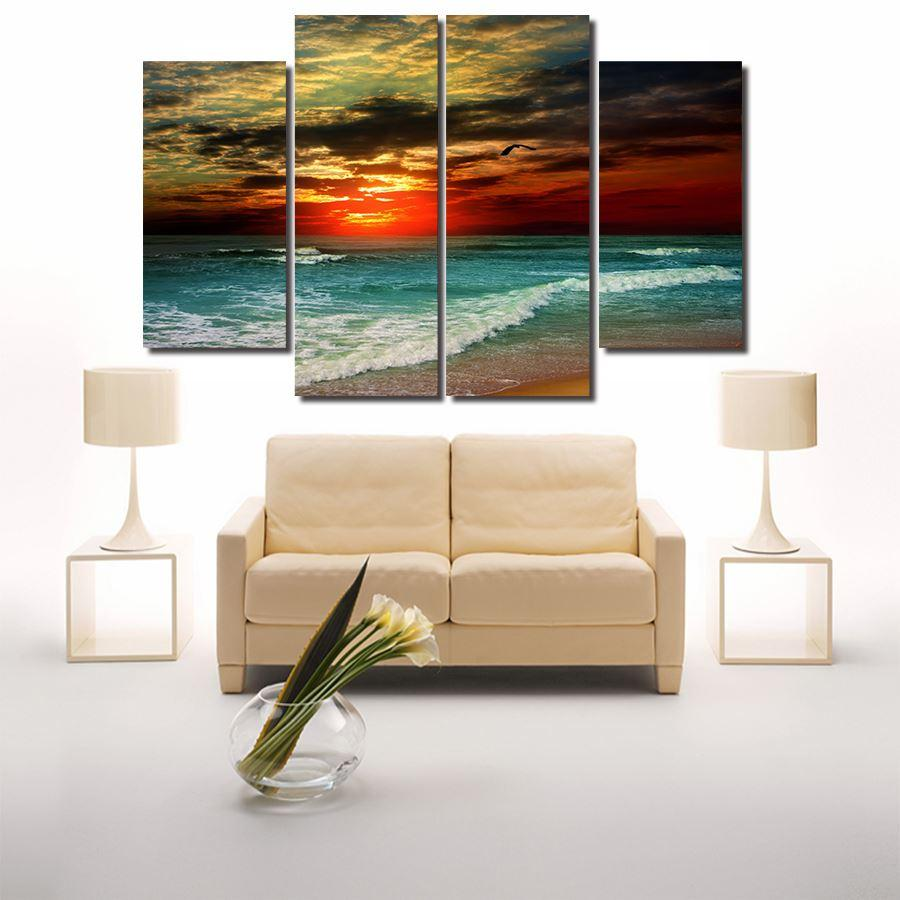 2016 New Hot 4 Piece Beach Sunset Painting Modern Abstract Oil Canvas Art Seascapes Wall Pictures Decoration Sets Free Delivery