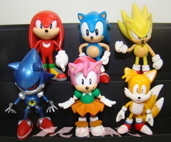 1 Unidades Al Por Menor 6 Unids / set Anime Cartoon Sonic The Hedgehog Figure Acción Set Doll Toys Envío Gratis