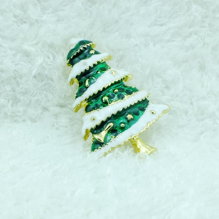 Wholesale High Quantity Brooches Pins Fashion Enamel Christmas Tree Gold Plated Brooches Weddings Christmas Decoration Jewelry