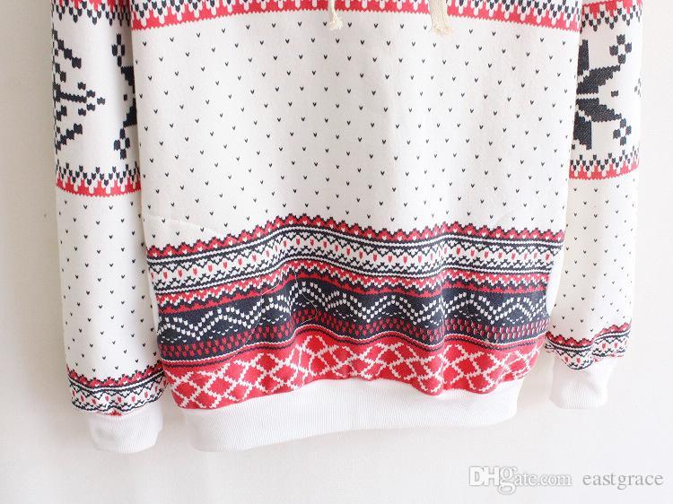 여자 용 전국 스타일 눈송이 짙은 양털 후드 스웨터 여성 겨울 코트 핫 세일 스웨터 후드 2016 인쇄