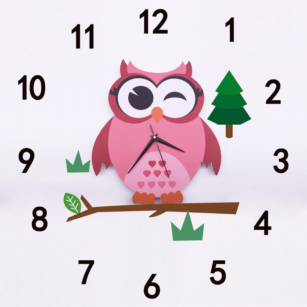 Cute Owl Wall Clocks Cartoon Sticker Large Decorative Wall Clocks
