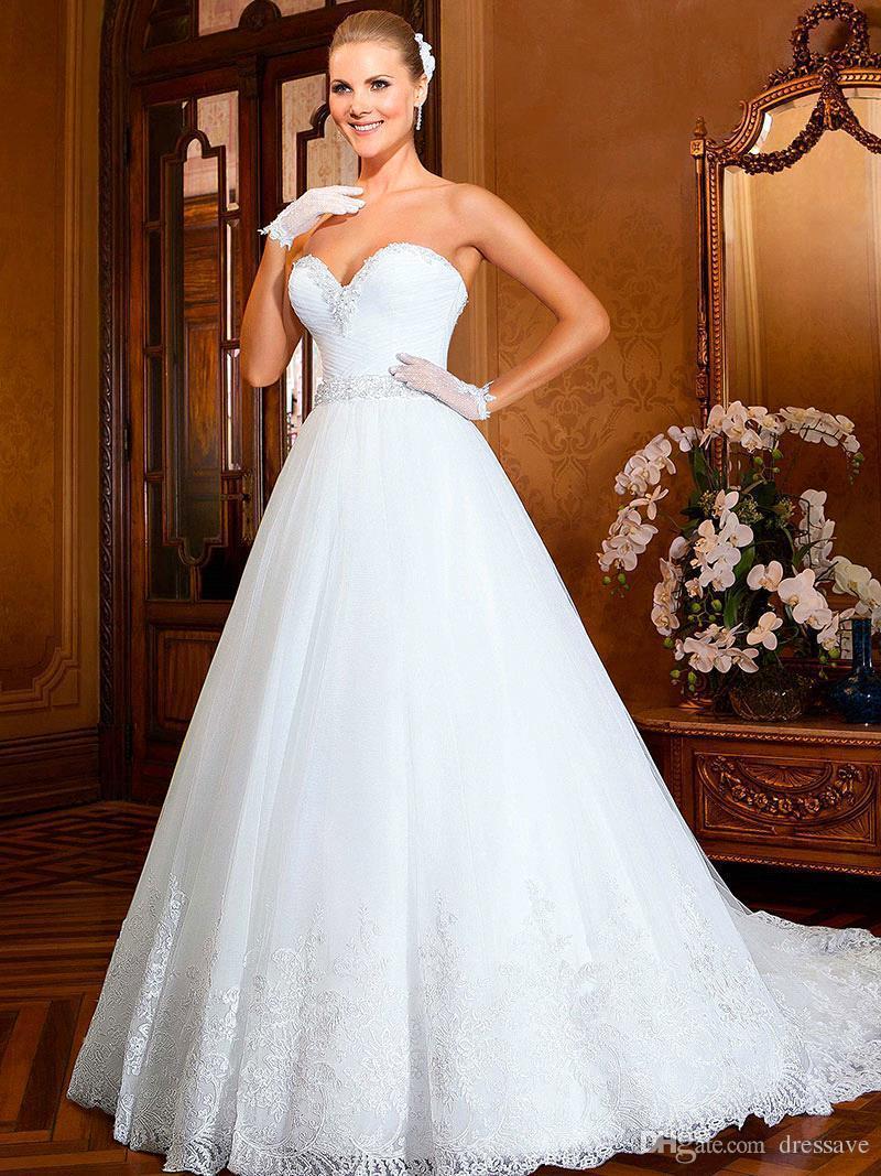 2018 Bling Ballkleid Overskirt Brautkleider Mit abnehmbaren Rock Zug Perlen Top weißen Tüll voller Länge lange Brautkleider