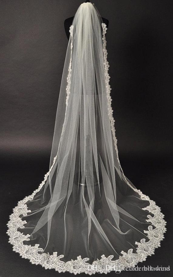 2020 جديدة طويلة أنيقة الزفاف الحجاب تول appliqued الديكور حافة الرباط كريستال طول الكاتدرائية مع مشط الحجاب الزفاف اكسسوارات الزفاف CPA543