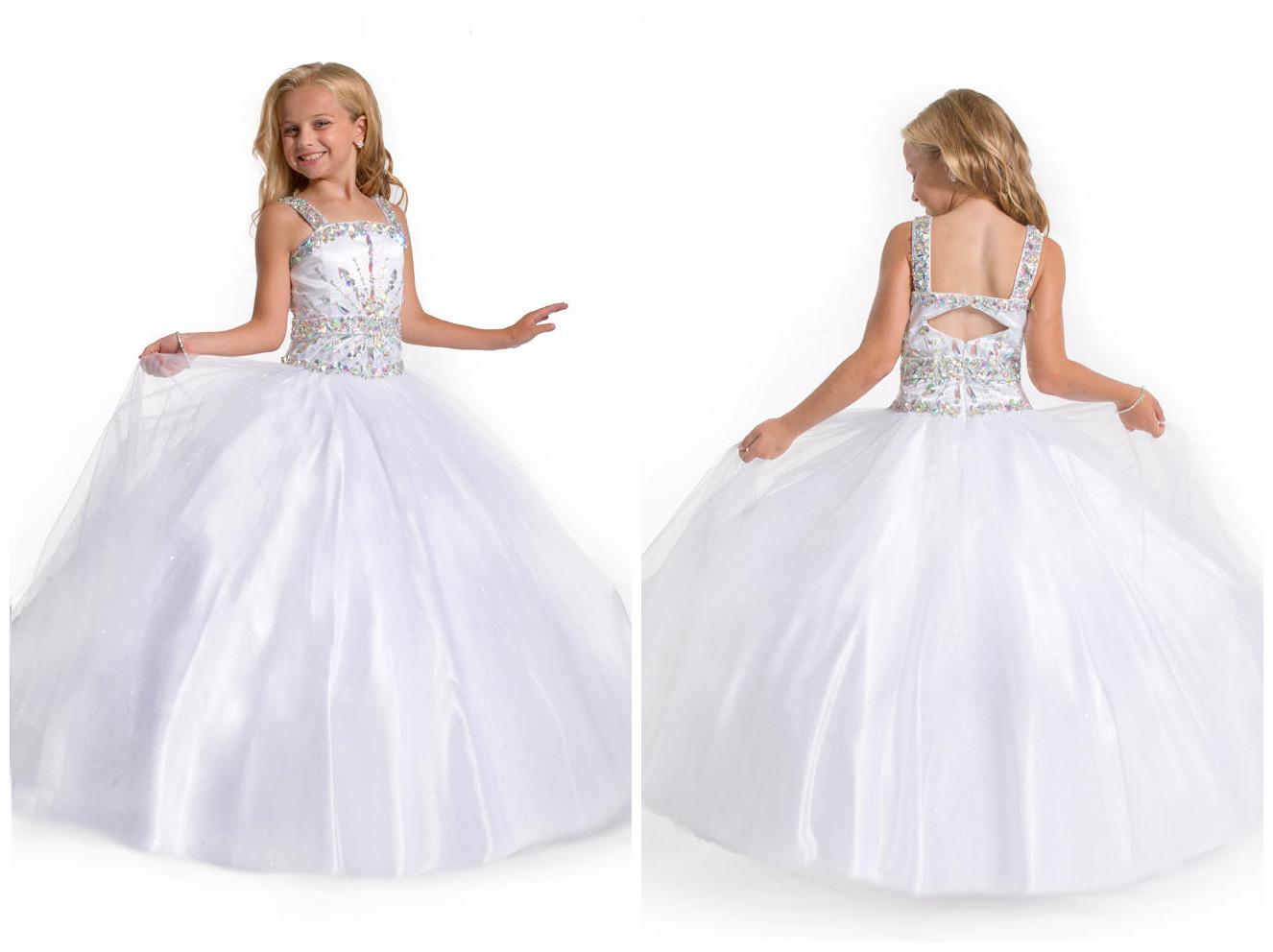 First Communion Clean Dresses White Ball Gown Spaghetti Strap ...