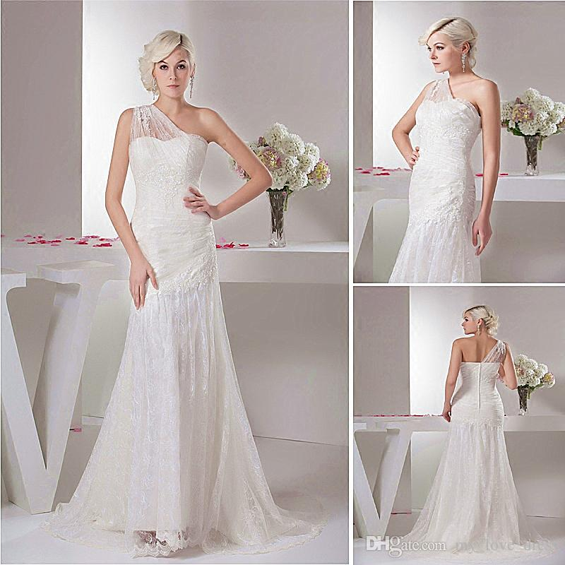 dc2bdfab69e New Spring Elegant Mermaid One Shoulder Wedding Dress Pleats Tulle Beaded  Lace Appliques Bridal Gown Court Train Wedding Dresses For Wedding Dresses  On Sale ...