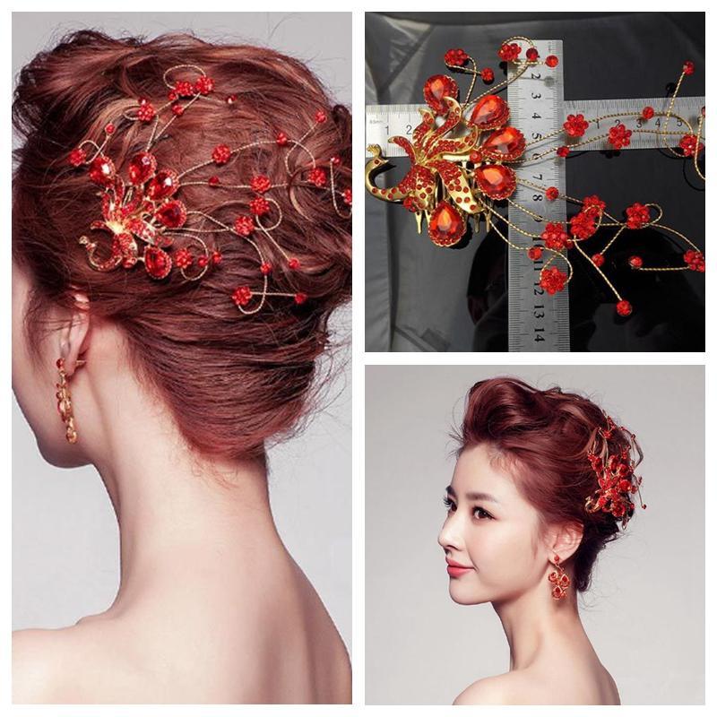 Red Bridal Hair Accessories Comb Bridal Head Decoration Phoenix ...