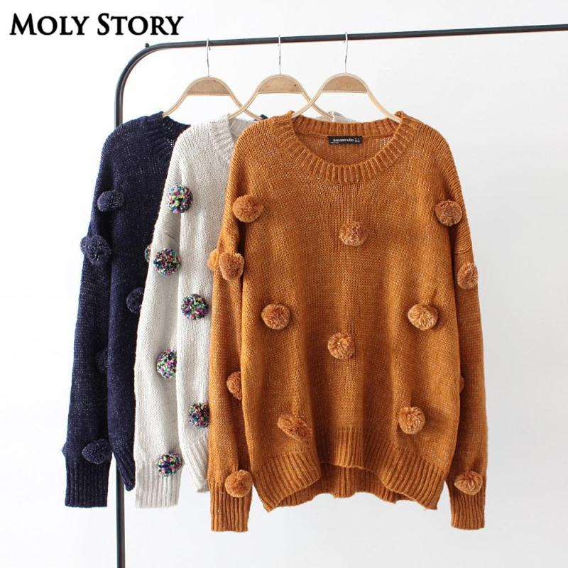 bff43fcc7b 2019 New Autumn Winter Cute Pom Pom Sweaters Women O Neck Casual Loose  Knitted Sweater Tops Outwear Pull Femme Jumper From Molystory