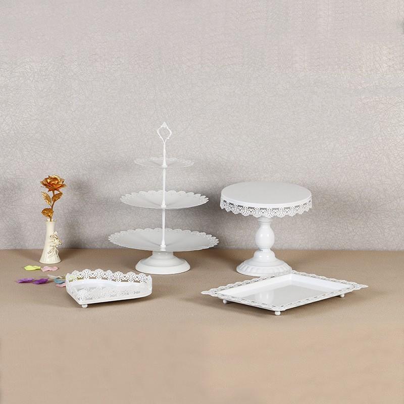 Weiß Kuchen Rack Europäischen Stil Metall Eisen Dessert Halter Für Hochzeit Spitze Cupcake Steht Backen Werkzeuge High End 95ds B
