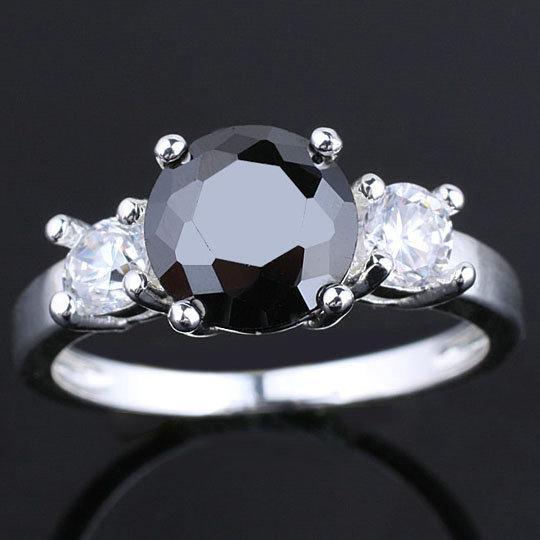 Unik 3-sten Kvinnor Svart Onyx Solid Sterling 925 Silver Ringar För Kvinnor Support Anpassning Flera storlekar Färger Hot Sale R038