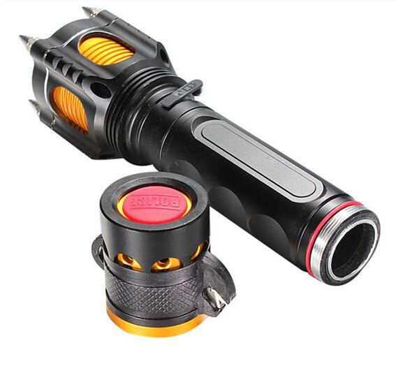 無料epacket 2000ルーメンクリーXML XM-L T6 LED懐中電灯トーチライト戦術ランプ警報+車充電器+ AC充電器
