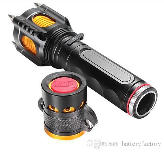 Freies Epacket 2000 Lumen Cree XML XM-L T6 führte Taschenlampen-Fackellicht taktische Lampen mit Ausschnittmesser Warnung + Autoladegerät + Wechselstrom-Ladegerät