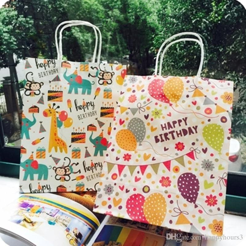 27x21x11cm Happy Birthday gift bag paper,Kraft paper gift bag with handles Cartoon Animals,Balloons Design Packaging bag 30pcs