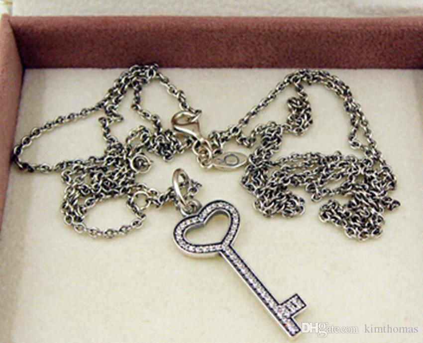 100% 925 Sterling Silver Key Necklace Pendants with Cubic Zirconia Fits European Pandora Style Jewelry Bead and Charms