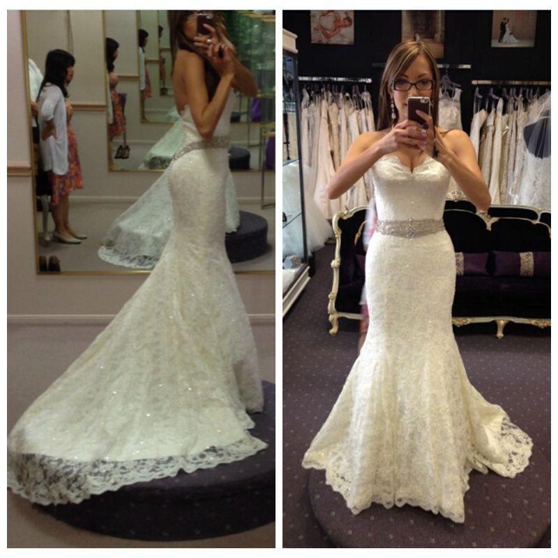 Bling Low Cut Back Mermaid Lace Bride Wedding Dresses Bridal Gowns ...