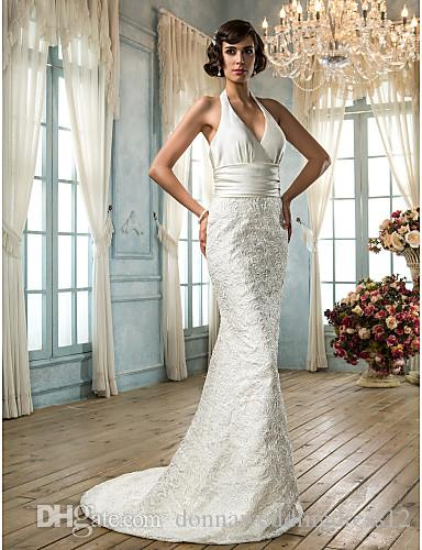2016 New Fashion Popular Ivory Sweep/Brush Train Halter Backless Lace/Satin Natural Sheath Wedding Dresses 212