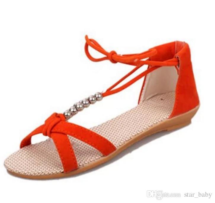 2015 estate ragazze grandi pattini dei sandali stringati Croce Perline Bambini Bambini Ragazze Slip-on Dance Party il vestito magico nastro Flats K4871