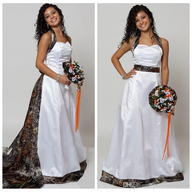 Detachable Cathedral Train Wedding Gown: Discount Halter Camo A Line Wedding Dresses With