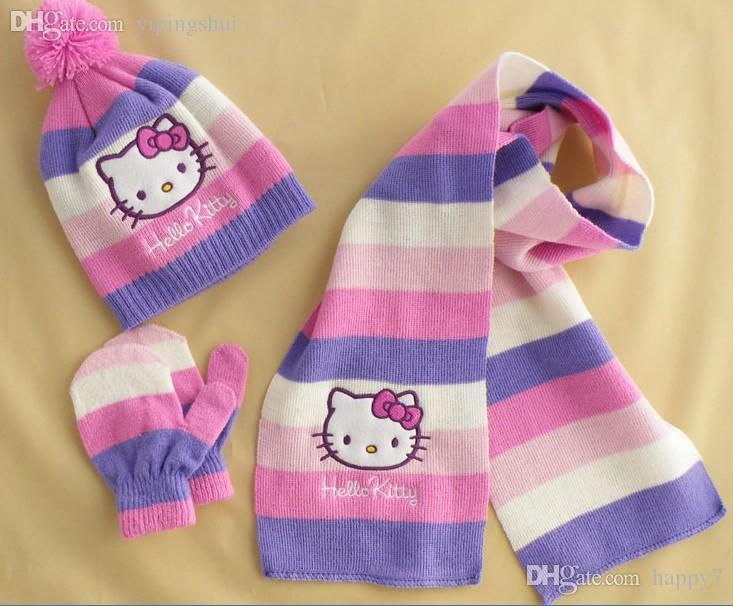 0070d81a24c Wholesale ! Hello Kitty Scarf +Cute Hat+Gloves Set