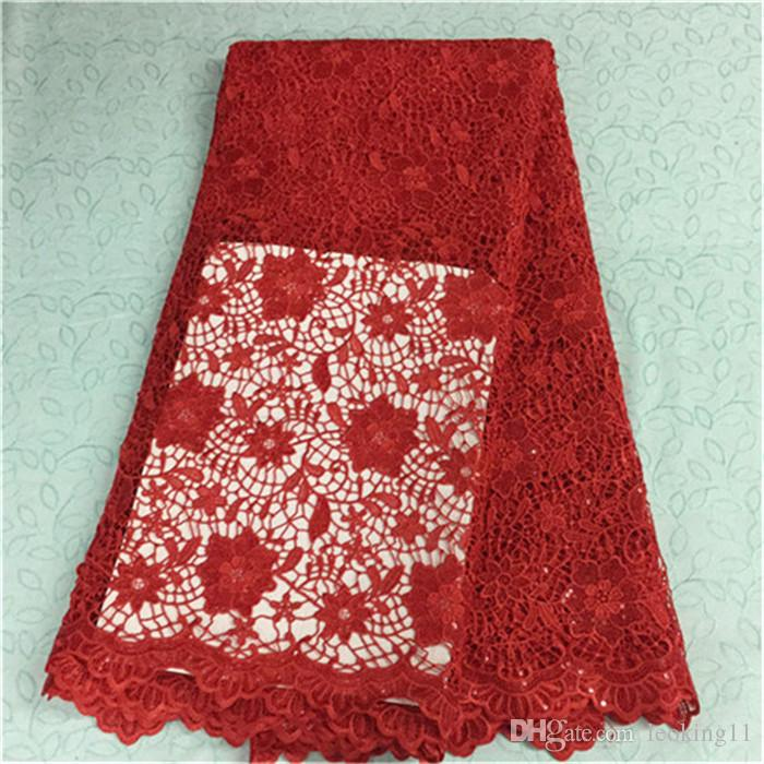 Luxury red flower design french guipure lace with sequins african water soluble lace fabric for party BW43-2,5yards/pc