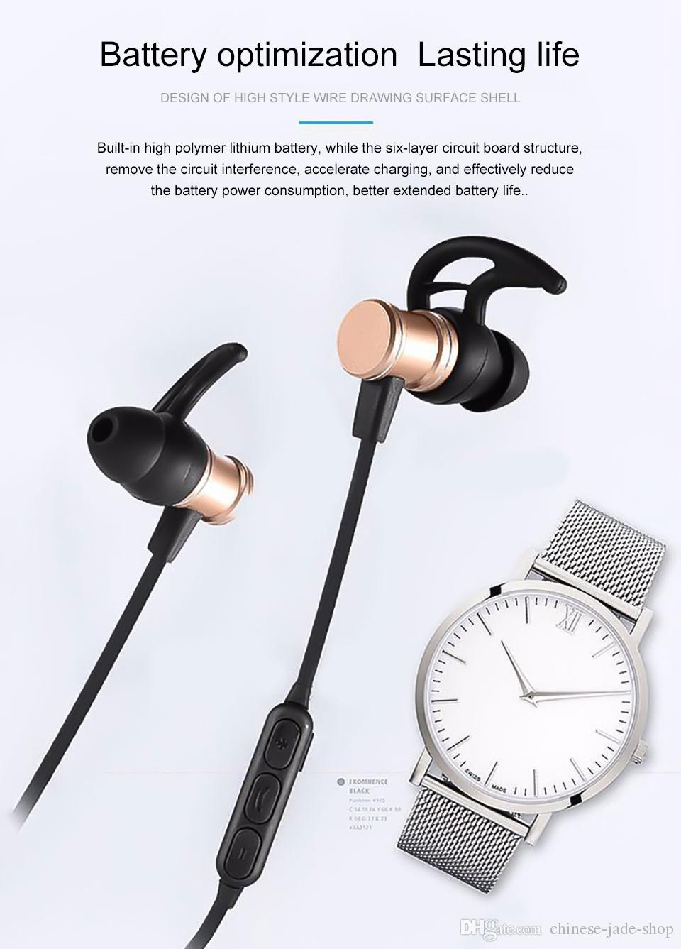 SLS-100 SLS100 Wireless Bluetooth Earphones V4.1 Metal Magnetic Super Bass Stereo Sport Runing Headphone With Mic For Smartphone PC