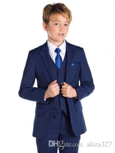 Blue Flower Boys Children Wedding Groom Tuxedos Kid's Formal Party Prom Suits jacket + pants + vest custom made