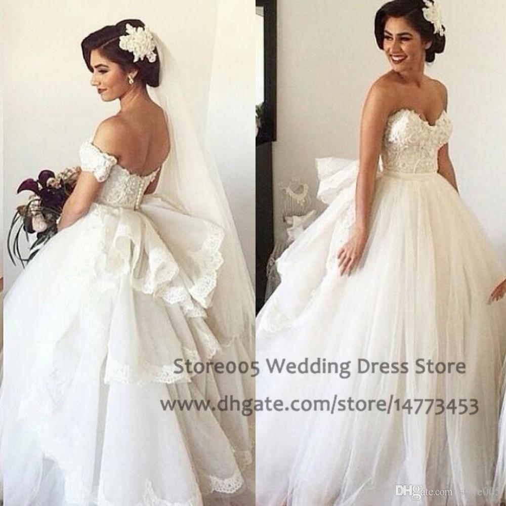 Simple Lace Sweetheart Wedding Dresses Off The Shoulder Applique ...