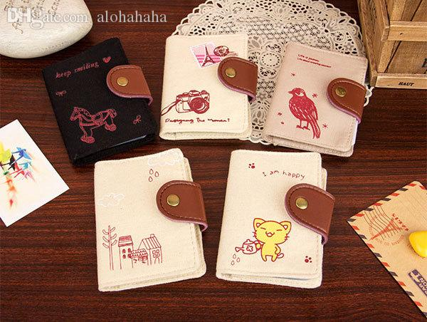 Wholesale brand new cute credit amp business card holder cartoon wholesale brand new cute credit amp business card holder cartoon horsebirdcat pattern 20 card slots fashion canvas card holder for gift crossbody purses reheart Gallery