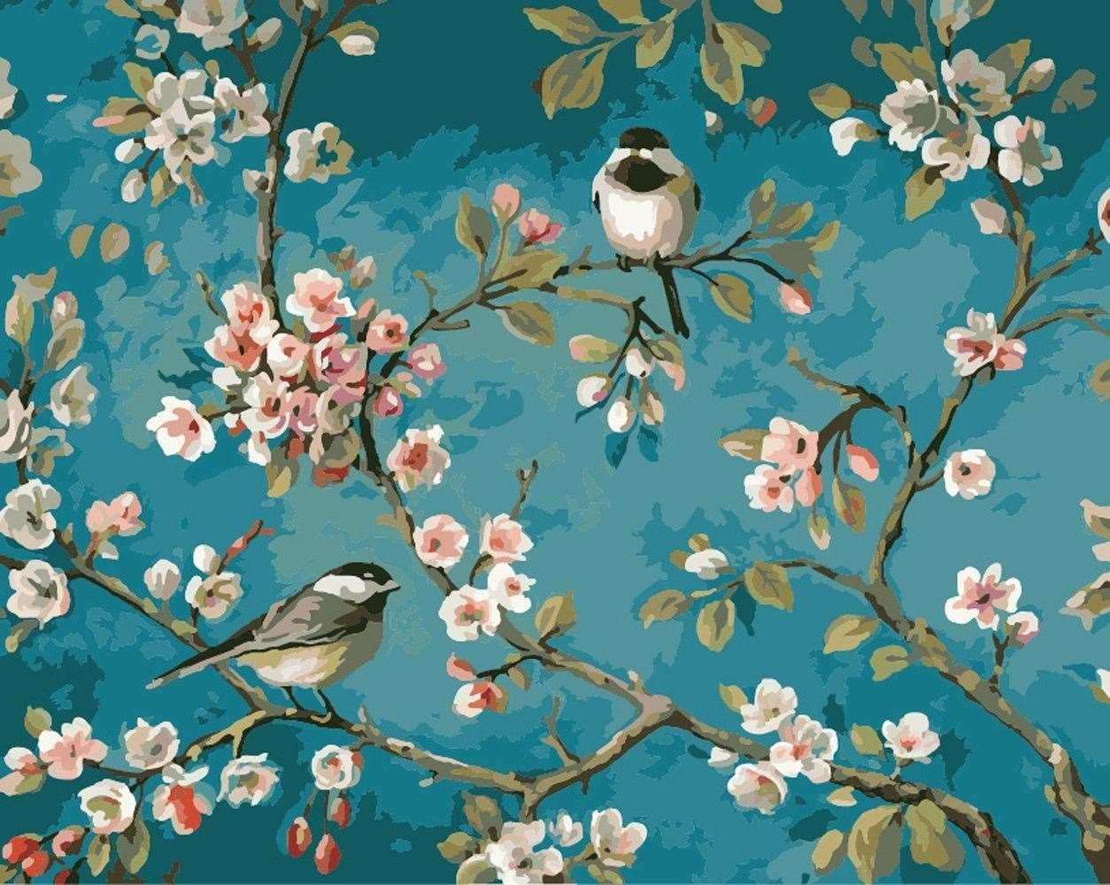 2018 Diy Diamond Painting Set Peach Blossom Bird Square