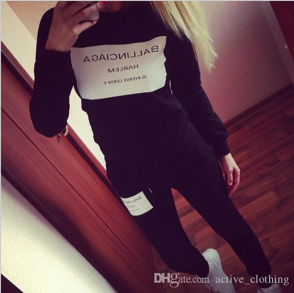 Yeni Spor Eşofman giymek Kadınlar Mektup Marka Baskı Spor Takım Elbise Hoodies Kazak + Pantolon Koşu Spor Kostüm 2 adet Set