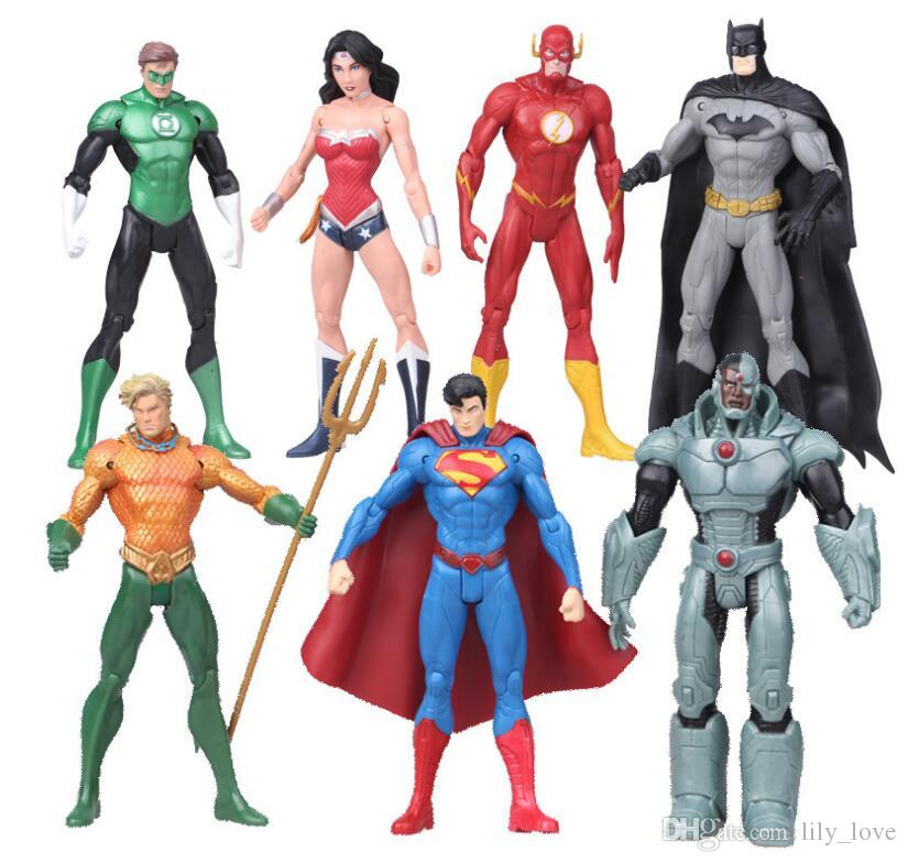 7 Pcs/lot 17cm Super Heroes PVC Action Figure Superman Batman Wonder Woman Flash Collection Model Toy