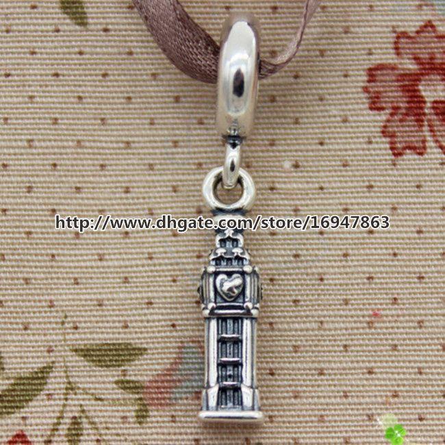 De alta calidad 100% S925 Sterling Silver LONDON Dangle Charm Bead adapta Europea Pandora Style Jewelry pulseras collares colgante